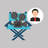 Businessman movie director chair film icons. Vector illustration eps 10 Royalty Free Stock Image