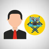 Businessman movie director chair film icons. Vector illustration eps 10 Stock Photos