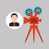 Businessman movie film icons. Businessman movie camera film icons vector illustration eps 10 Stock Photo