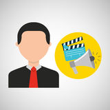 Businessman movie megaphone clapper icons. Vector illustration eps 10 Stock Photo