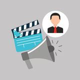 Businessman movie megaphone clapper icons. Vector illustration eps 10 Royalty Free Stock Photo