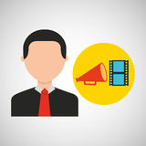 Businessman movie strip film megaphone icons. Vector illustration eps 10 Royalty Free Stock Images