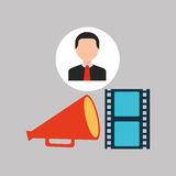 Businessman movie strip film megaphone icons Royalty Free Stock Images