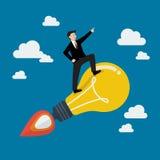 Businessman on a moving lightbulb idea rocket Stock Photos