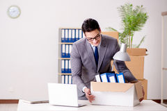 The businessman moving offices after promotion Royalty Free Stock Image