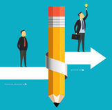 Businessman is moving to the target including a bulb. Business concept pencil with arrow up Stock Image