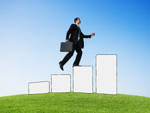 Businessman Moving Up Development Success Goal Victory Concept Stock Photography