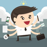 Businessman with multi tasking and multi skill. Flat design royalty free illustration