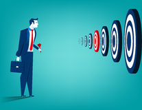 Businessman and multiple targets. Concept business illustration. Vector flat Stock Images