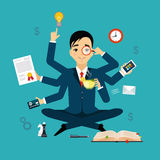 Businessman with multitasking and multi skill Stock Photography