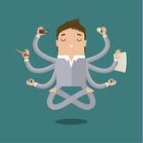 Businessman with multitasking Stock Photos