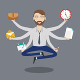 Businessman with multitasking and multi skill. Keep calm. Business concept. Flat design Stock Images