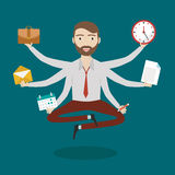 Businessman with multitasking and multi skill. Keep calm. Business concept. Flat design Stock Photos