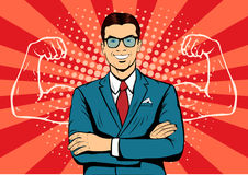 Businessman with muscles pop art illustration Royalty Free Stock Photography