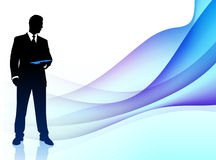 Businessman Musician on Abstract Flowing Background Royalty Free Stock Image