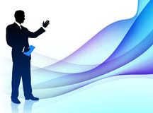 Businessman Musician on Abstract Flowing Background Stock Photos