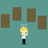 Businessman must choose door opportunity Royalty Free Stock Photography