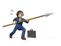 Businessman must fight by the anachronistic way. Stock Photo