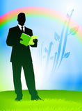 Businessman on Nature Rainbow Background Royalty Free Stock Photos