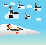 Businessman navigating a fighter plane. Illustration of businessman navigating a fighter plane Royalty Free Stock Images