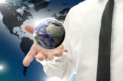 Businessman navigating in virtual reality interface. Stock Photo