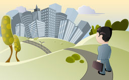 Businessman near city. Cartoon illustration of businessman with briefcase on pathway through park or countryside with modern city skyline in background Stock Photography