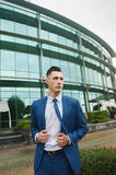 Businessman near office building Royalty Free Stock Photo