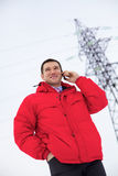 Businessman near power line Stock Photos