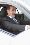 Businessman nearly crashing his car Royalty Free Stock Image