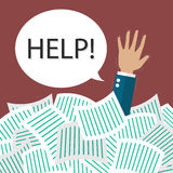 Businessman need help under a lot of documents Stock Image