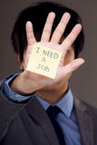 Businessman need job. With hand of memo note Stock Photography