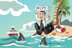 Businessman needs help. A vector illustration of a businessman stranded in an island asking for help Stock Photos