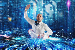 Businessman needs help to surf the internet. Internet exploration problem concept Stock Photos