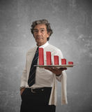Businessman and negative statistics Stock Photography