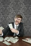 Businessman nerd accountant dollar notes Royalty Free Stock Photos