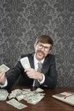 Businessman nerd accountant dollar notes Royalty Free Stock Photos