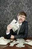 Businessman nerd accountant dollar notes Stock Photography