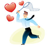 Businessman with a net catches flying red heart. Man with a net catches flying red heart image search love stock illustration