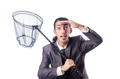 Businessman with net Stock Photo