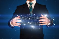 Businessman holding network connections Stock Photography