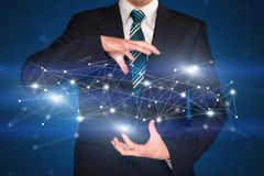 Businessman holding network connections Stock Photos