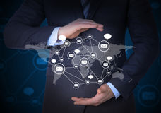 Businessman and network of contacts on hands Stock Image