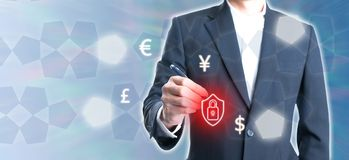 Businessman with new icon for modern life for electronic money. Or online royalty free stock image