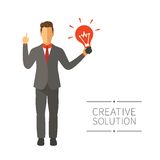 Businessman with new idea vector concept in modern flat style Royalty Free Stock Images