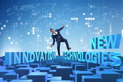 The businessman in new technologies concept stock images