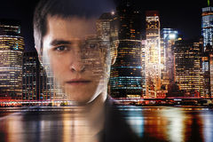 Businessman in New York City at the night Royalty Free Stock Images