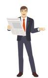 Businessman with newspaper gesturing Stock Photo