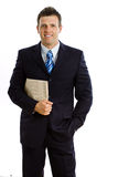Businessman with newspaper isolated Royalty Free Stock Photography
