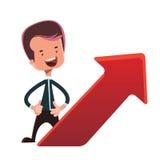 Businessman next to red arrow  illustration cartoon character Stock Photos