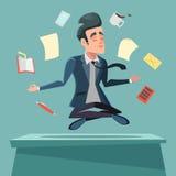 Businessman in Nirvana at Office Work. Man Meditating. Vector cartoon illustration Stock Image